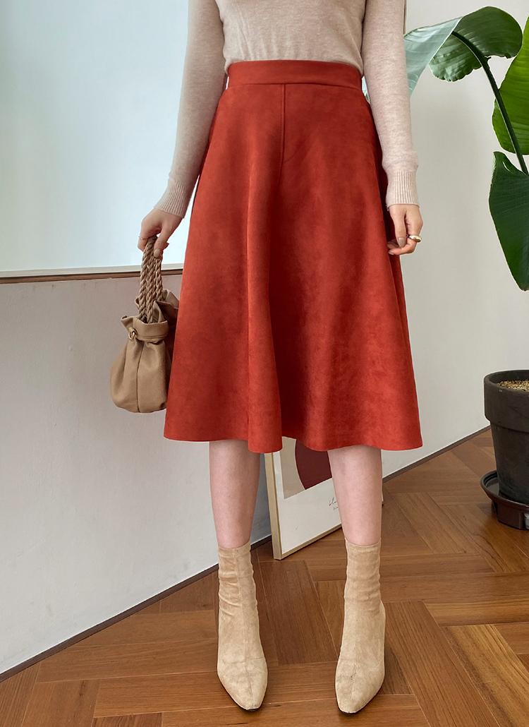 スエードライクフレアスカート・全3色