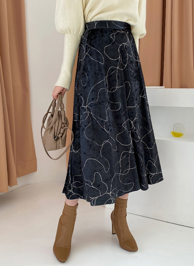 ドローイングベロアスカート・全2色