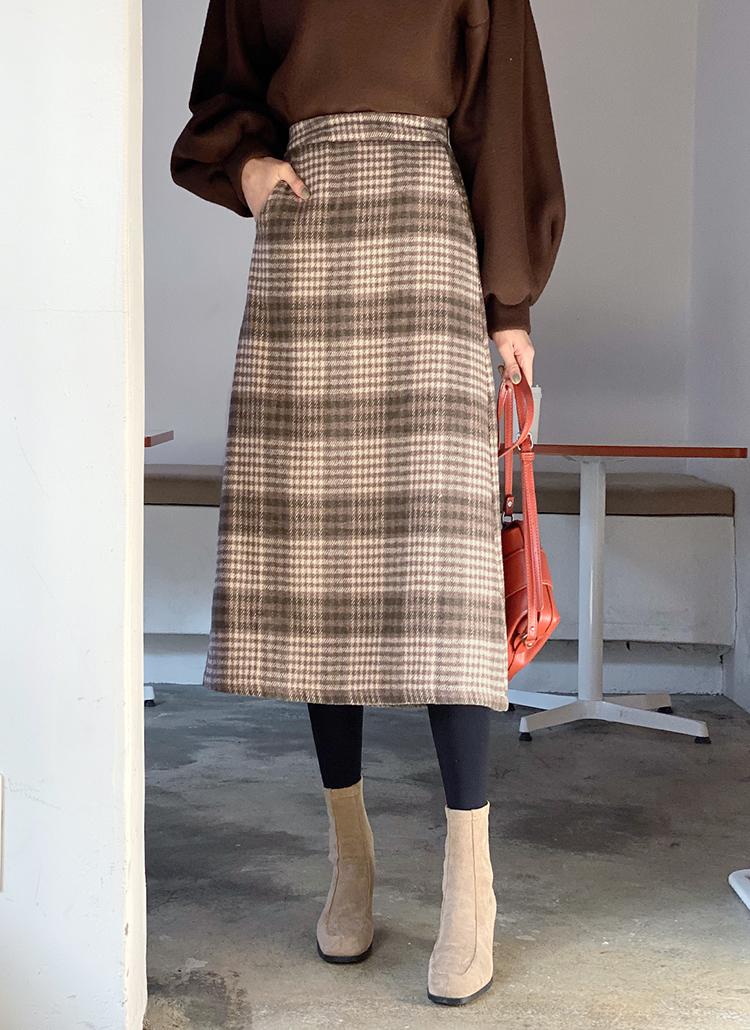 チェックロングスカート・全3色