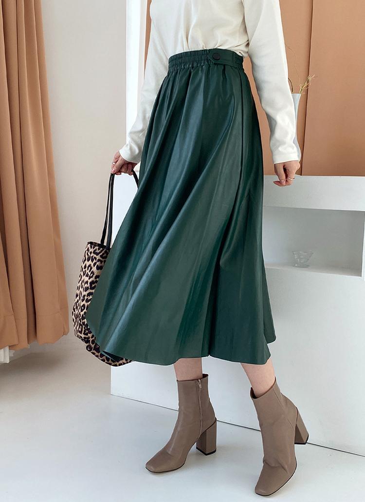 サイドボタンレザー調スカート・全3色