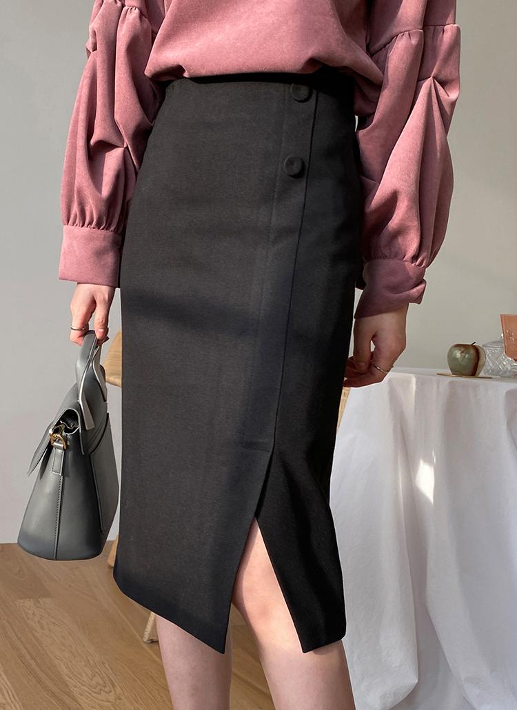 ボタンHラインスリットスカート・全3色