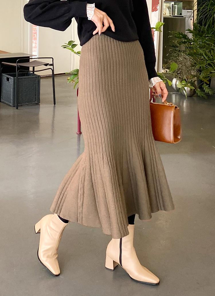 リブニットマーメイドスカート・全4色