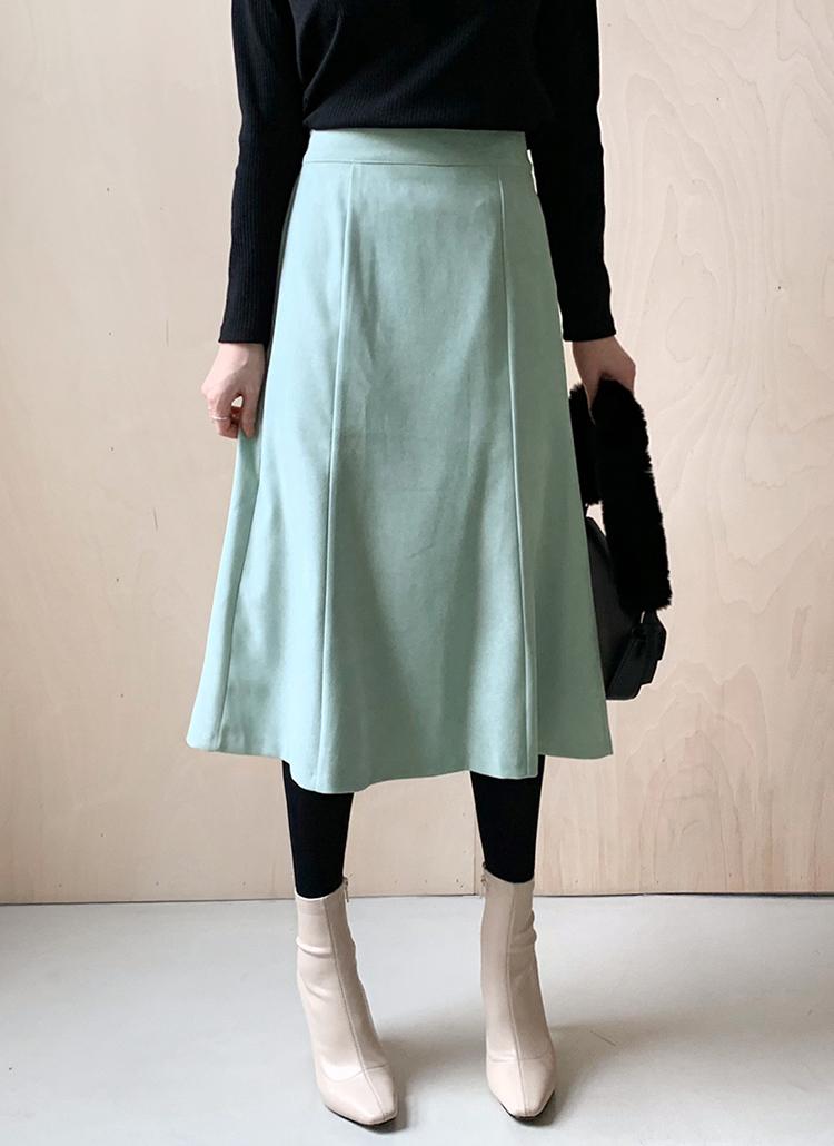 スエード調フレアスカート・全4色