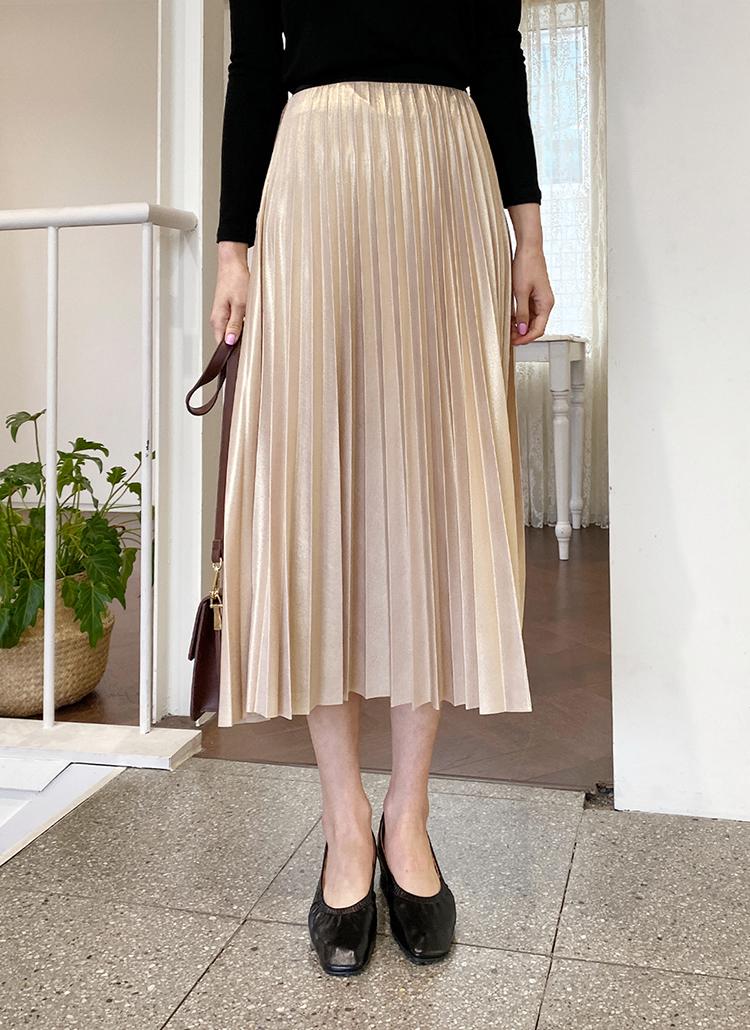 グロッシープリーツスカート・全3色