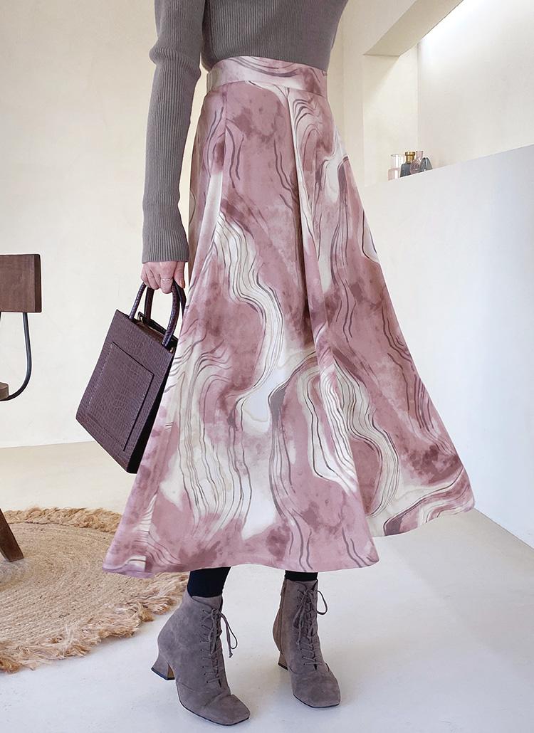 マーブリングフレアスカート・全2色