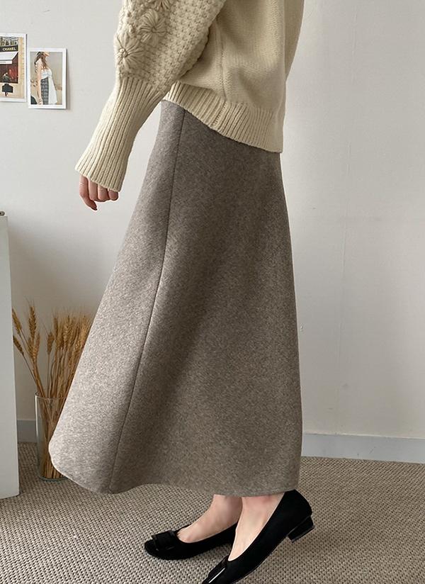 ウール混ロングスカート