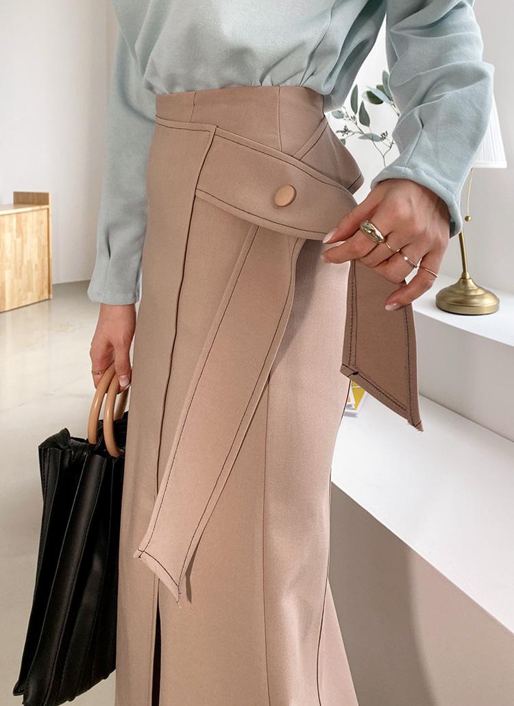 サイドリボンステッチスカート・全2色
