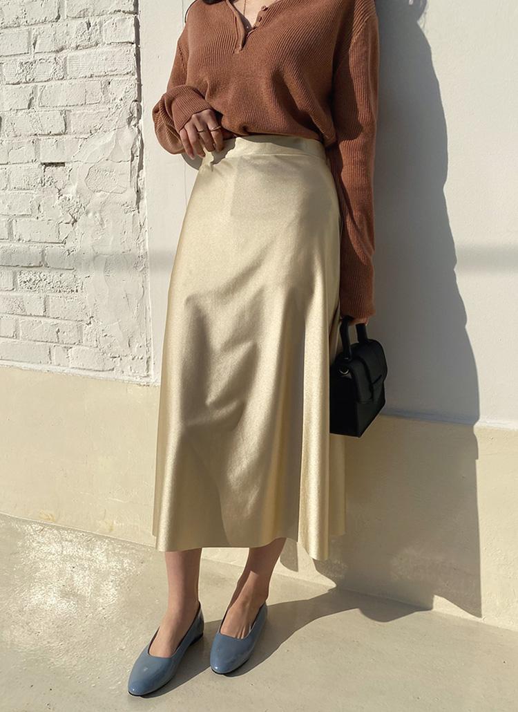 フレアサテンスカート・全4色