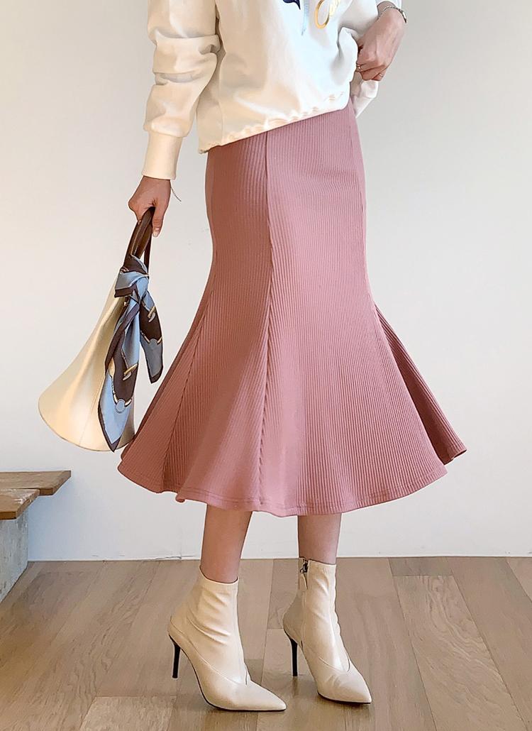 リブマーメイドスカート・全5色