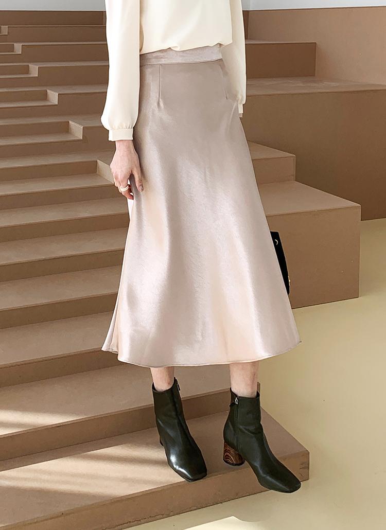 サテンバックゴムスカート・全3色