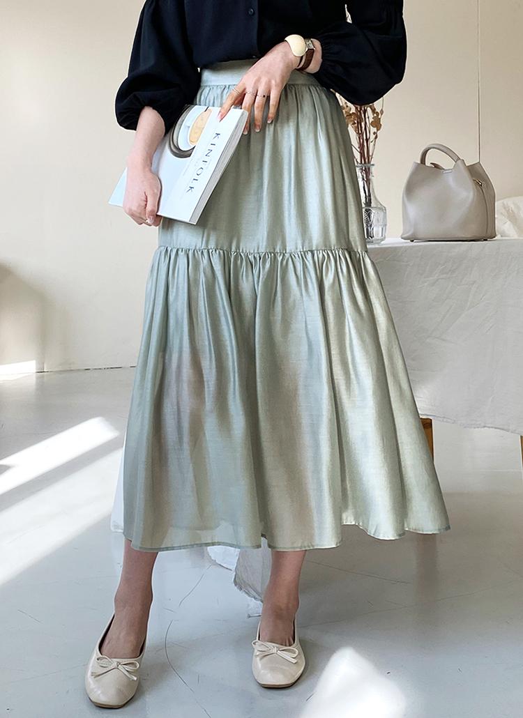 グロッシーギャザースカート・全3色