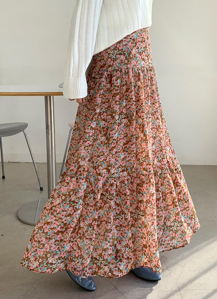シフォンギャザー花柄スカート・全2色