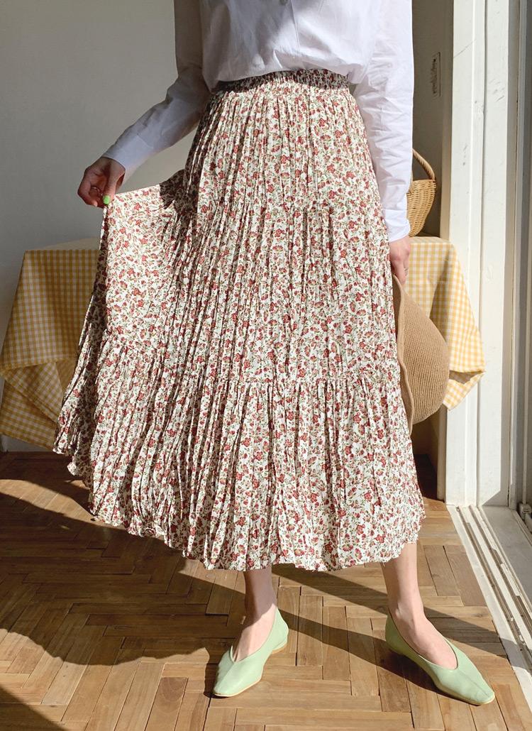 リンクルフローラルスカート・全2色