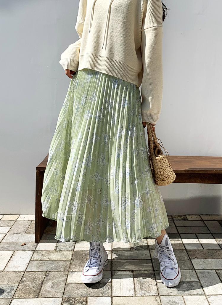花柄プリーツスカート・全2色
