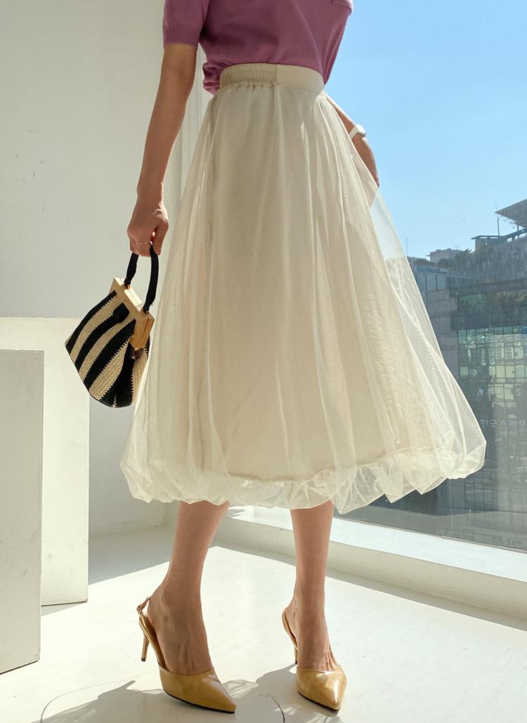 メッシュバルーンスカート・全2色