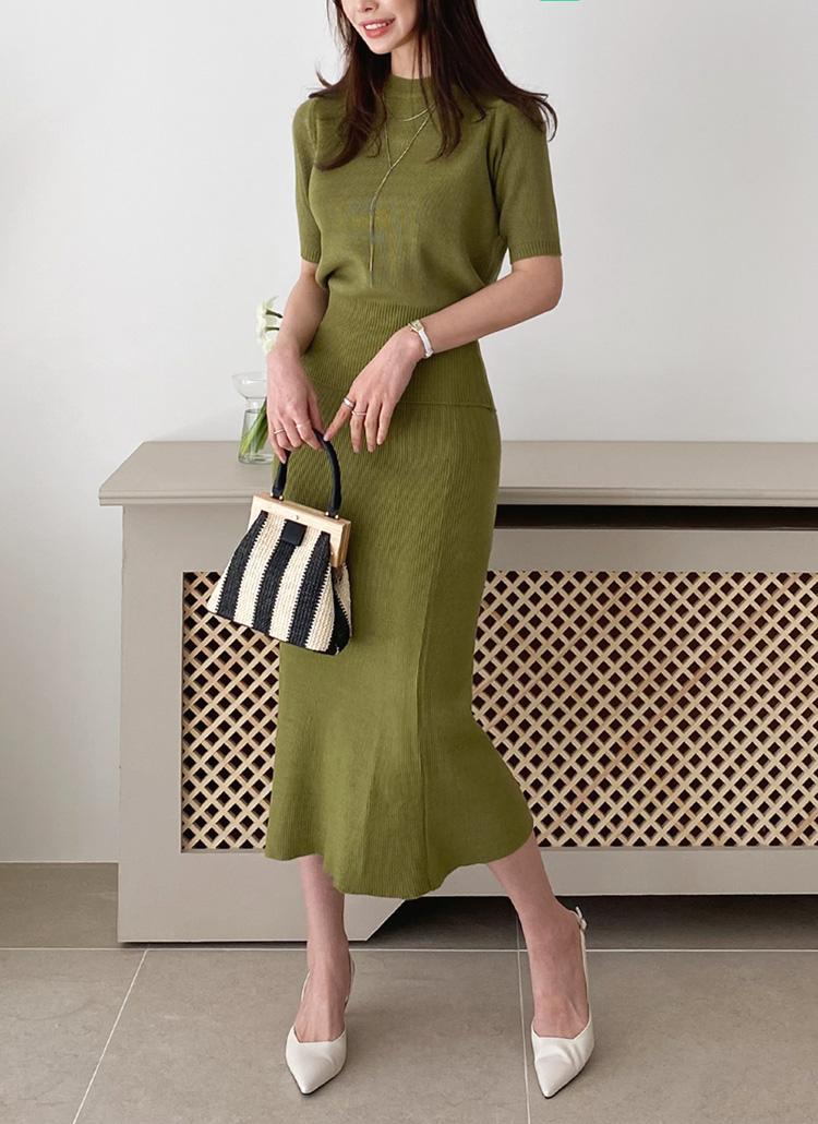 半袖パフニット&スカートSET・全4色