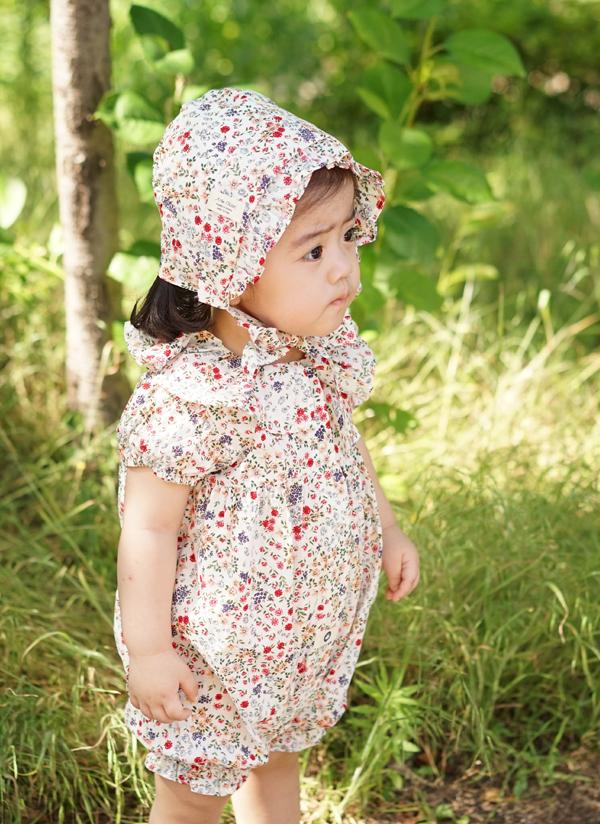 小花柄カラーロンパース