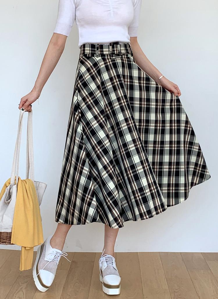 ベルト付チェックフレアスカート・全2色