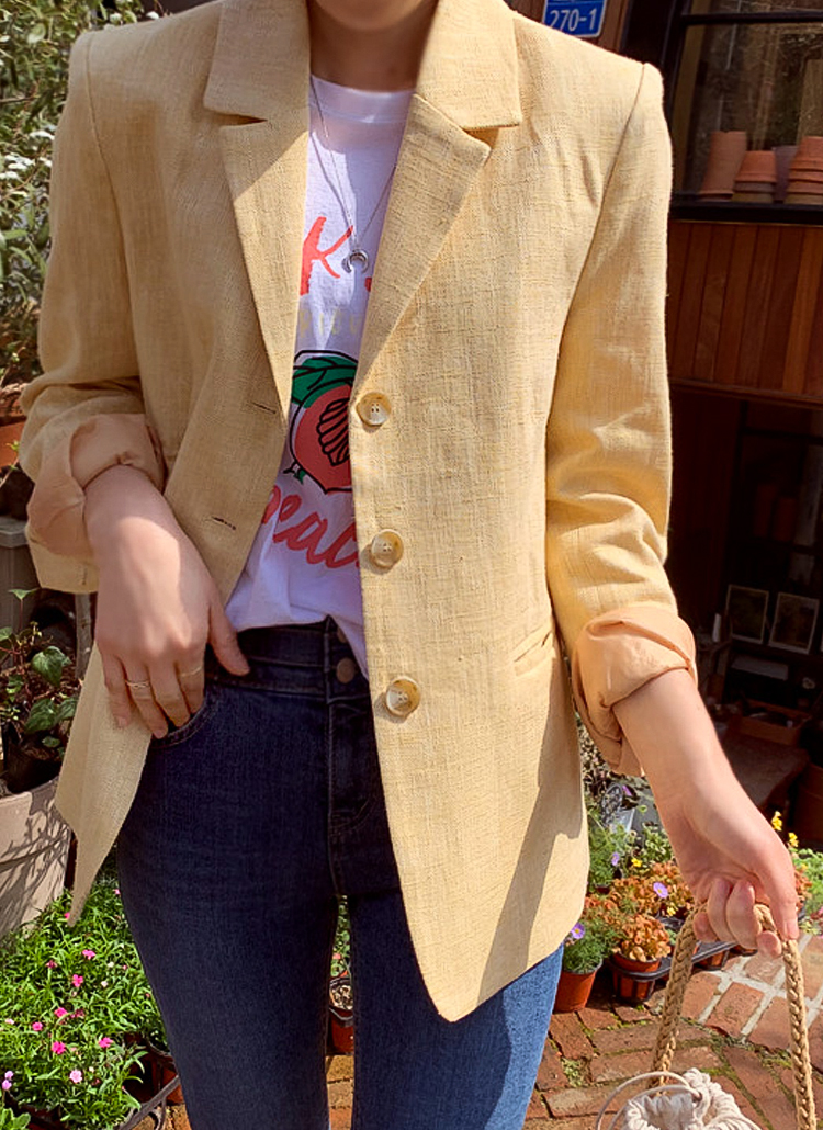 リネン混シングルジャケット