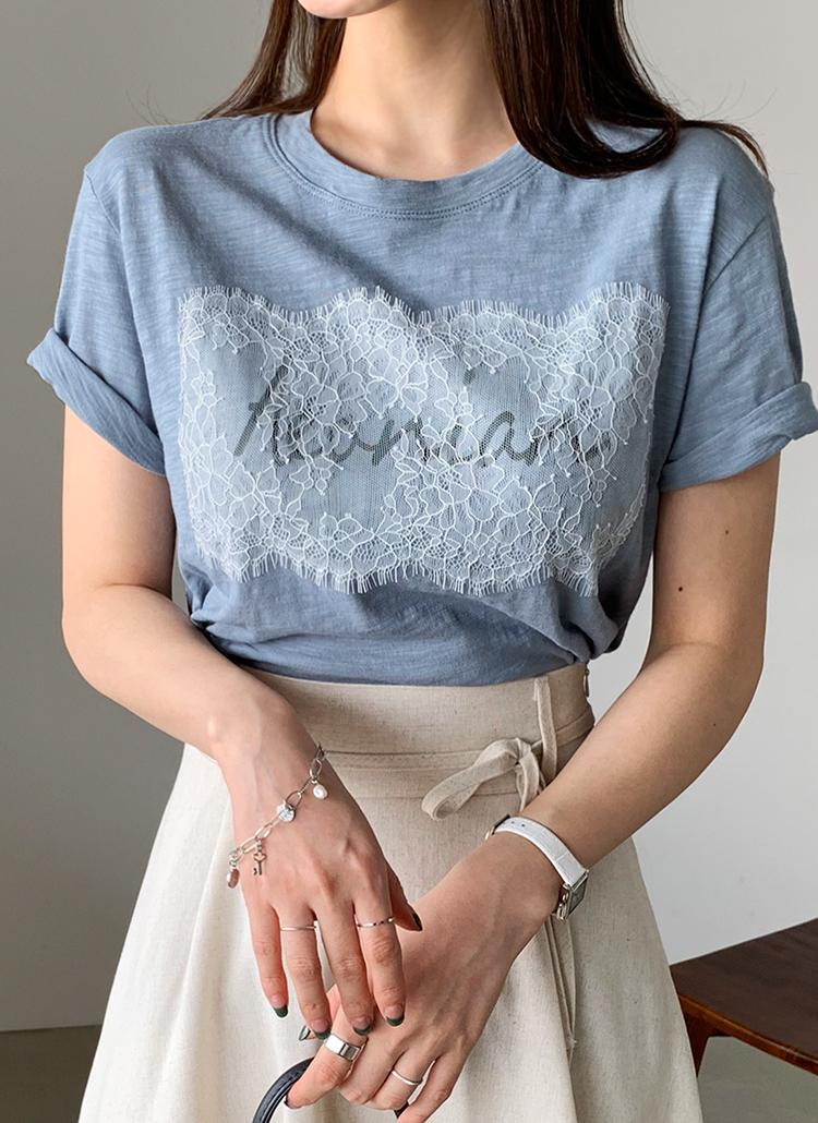レースレタリングTシャツ・全3色