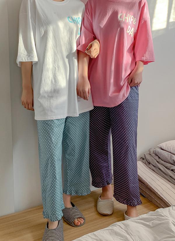 ドット柄パジャマパンツ