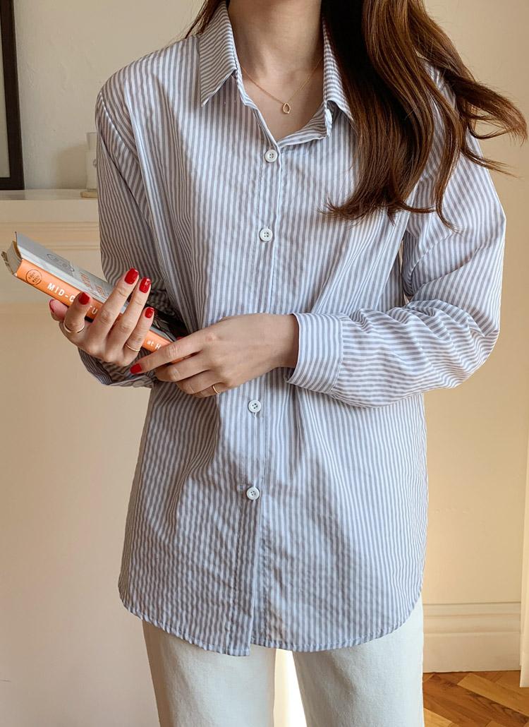 ポケットレスストライプシャツ