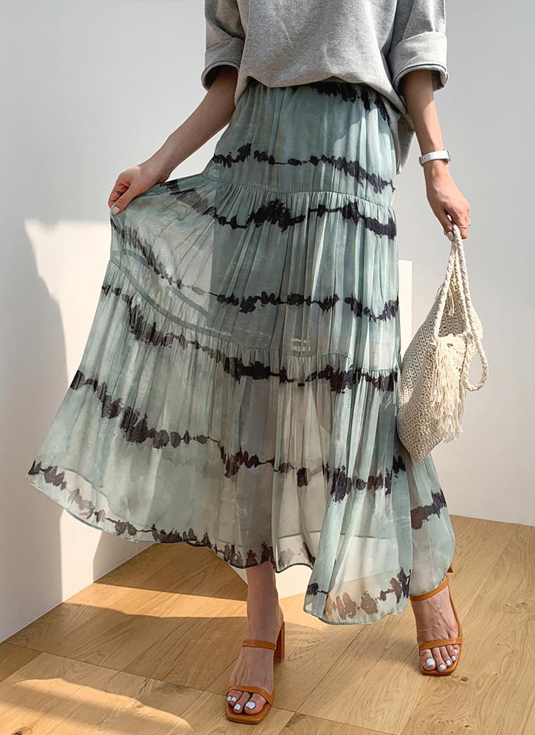 パターンシフォンロングスカート・全2色