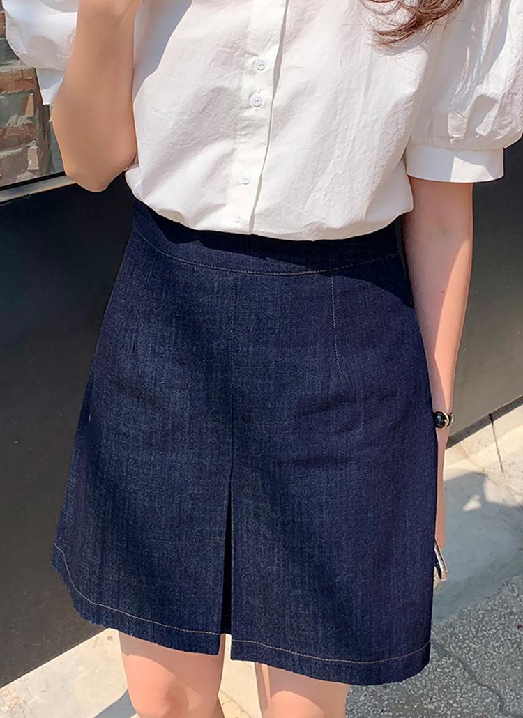 ボックスプリーツミニデニムスカート