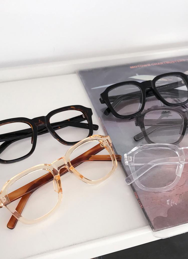 UV400スクエアボールドフレームメガネ・全5色