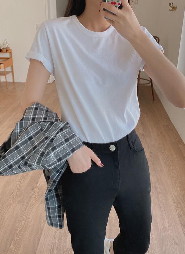 ロールアップスリーブTシャツ