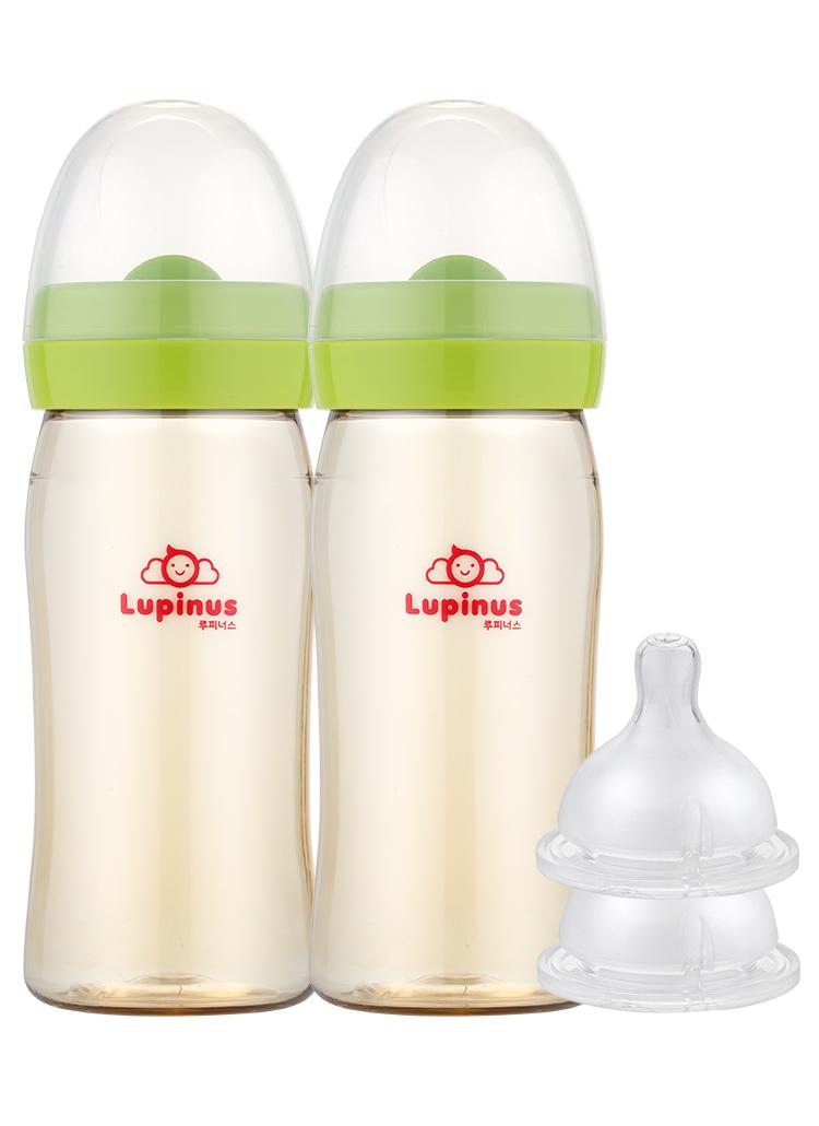 ツイン哺乳瓶&ニプル4穴(2個)SET(グリーン)
