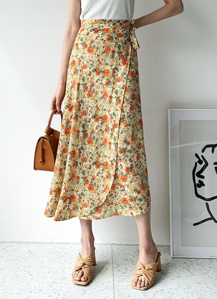 フローラルラップスカート・全3色