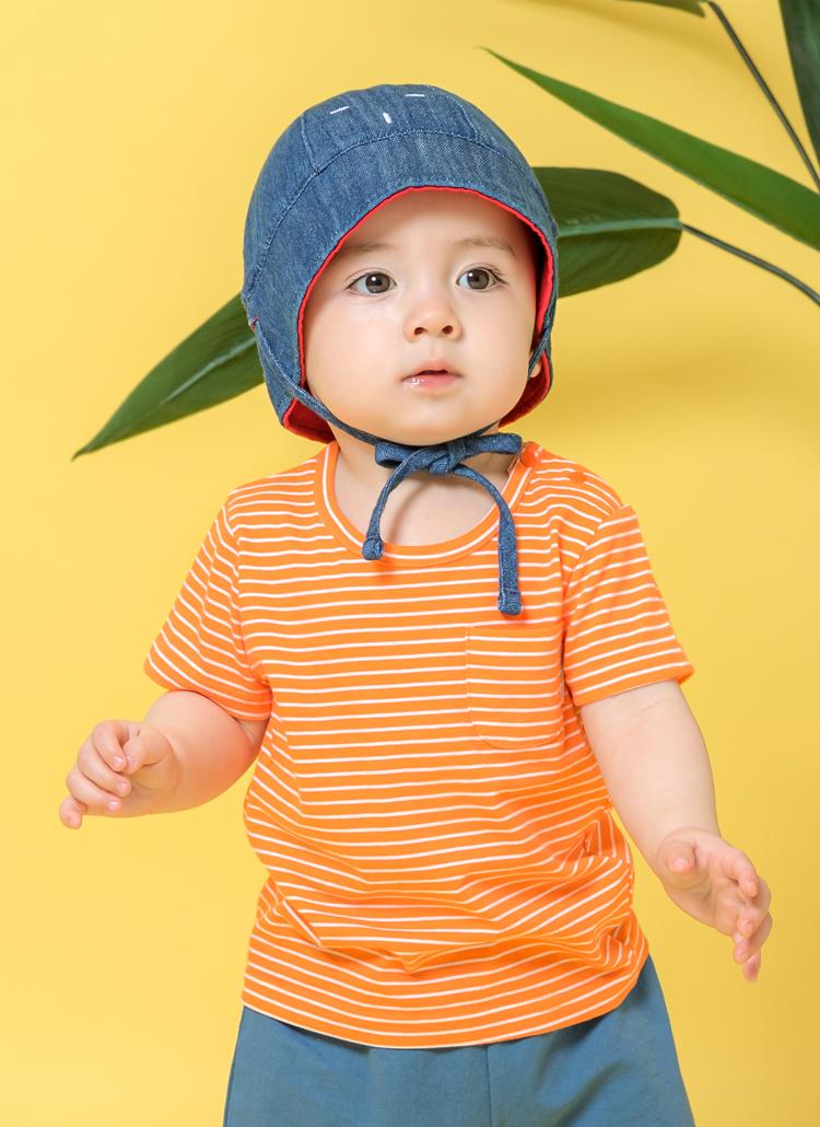 ワンポケットボーダーTシャツ(オレンジ)