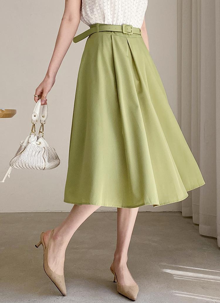 ベルト付フレアスカート・全4色