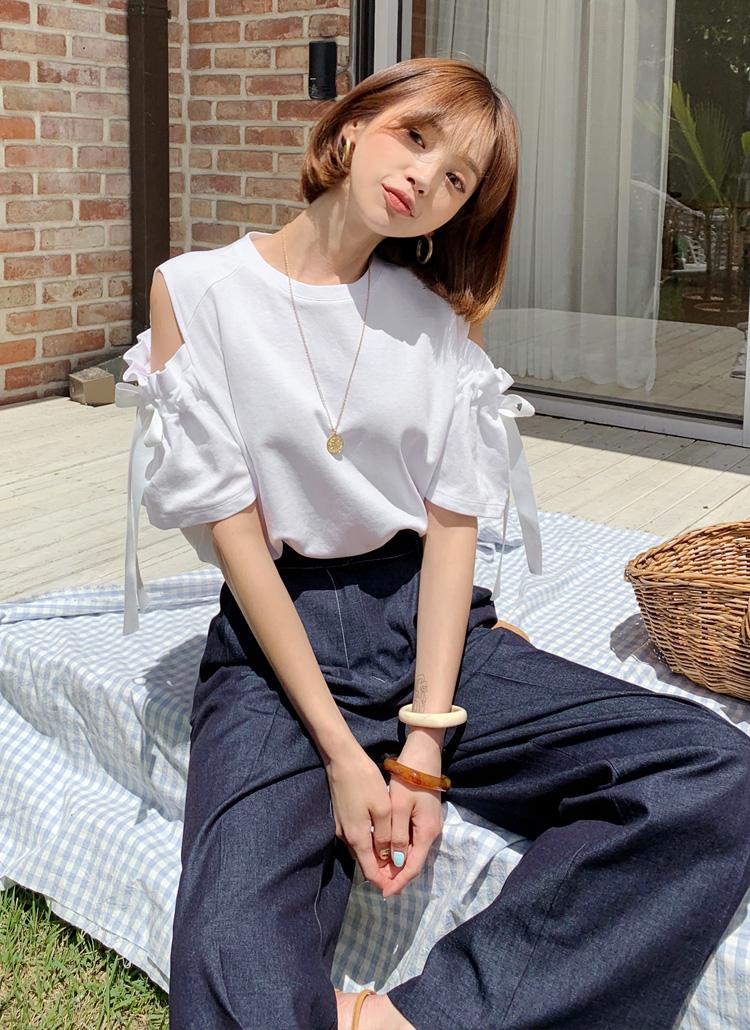 リボンオープンショルダーTシャツ・全3色