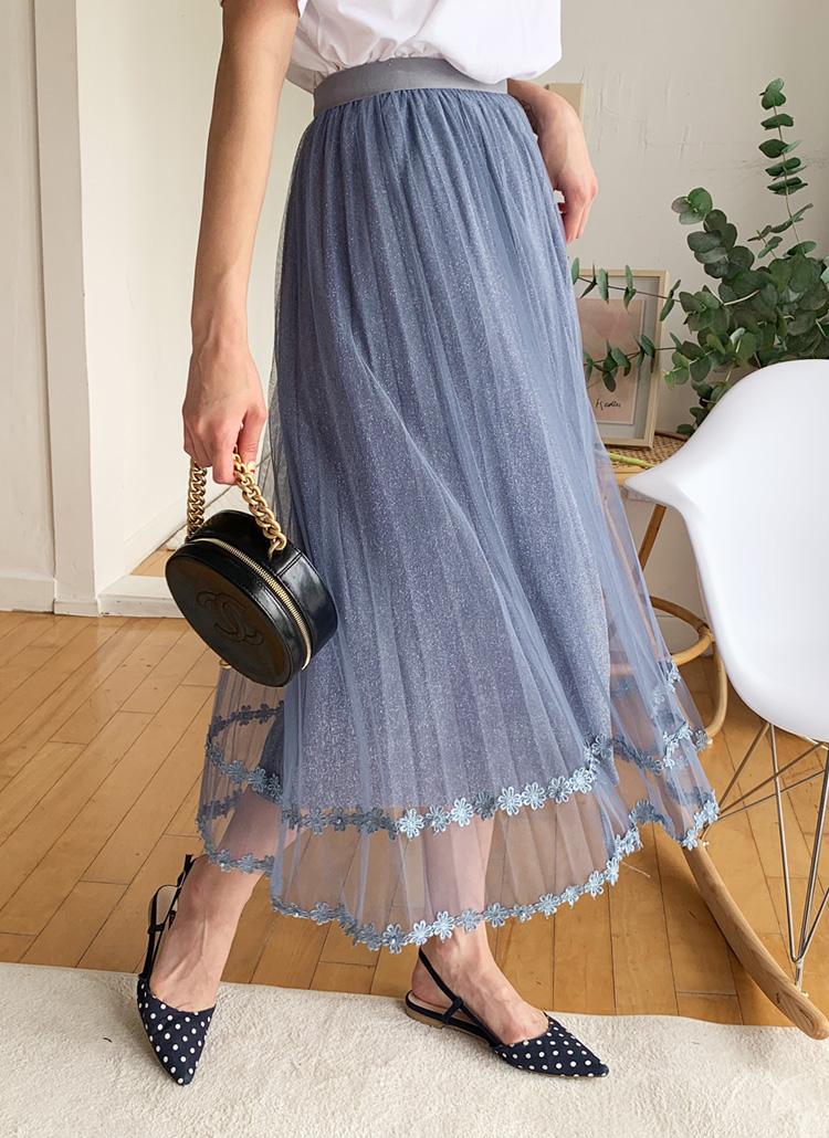 フラワーディテールチュールスカート・全3色