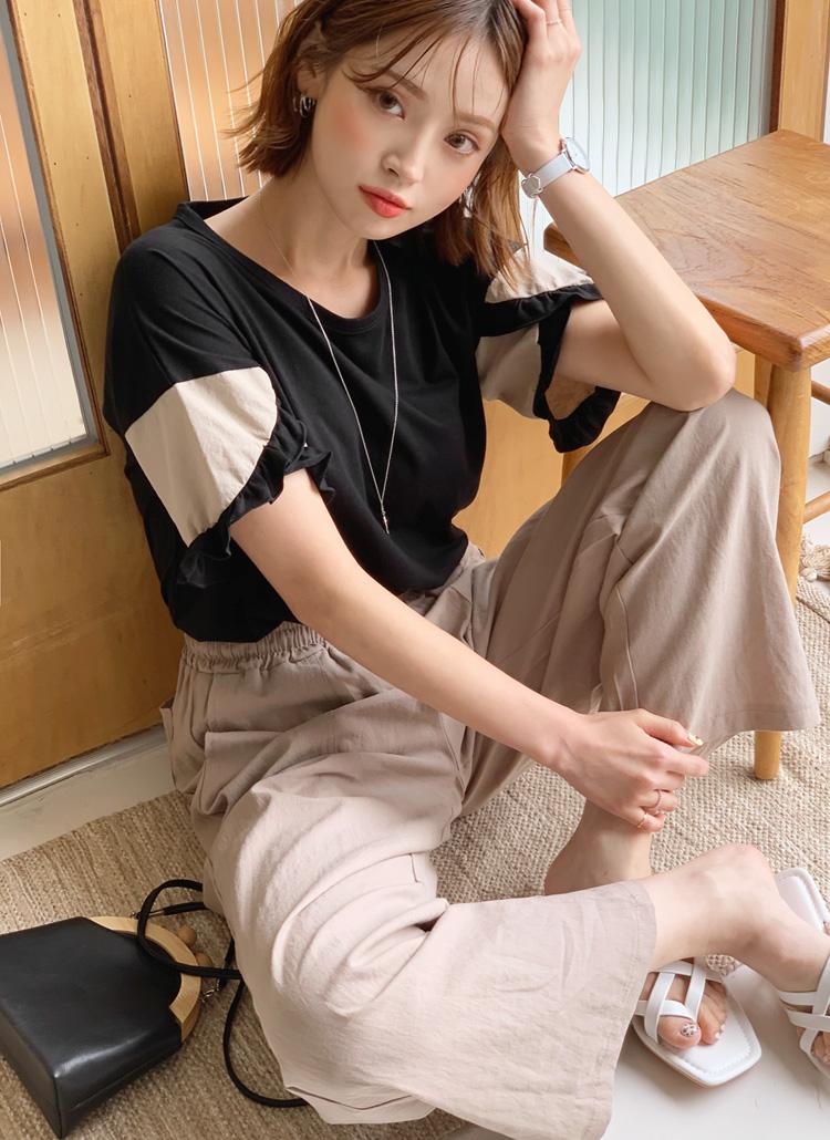フリルスリーブTシャツ・全3色