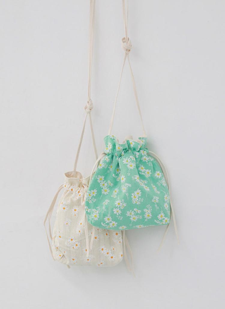 花柄コットンミニ巾着バッグ