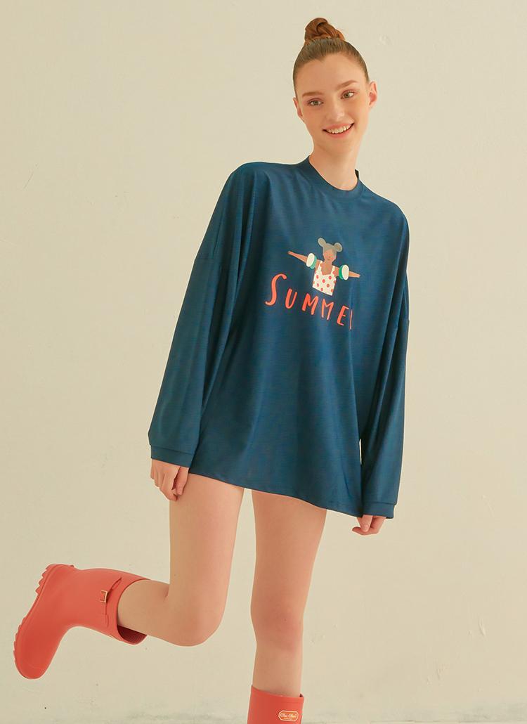 SUMMERオーバーラッシュガードTシャツ(ネイビー)