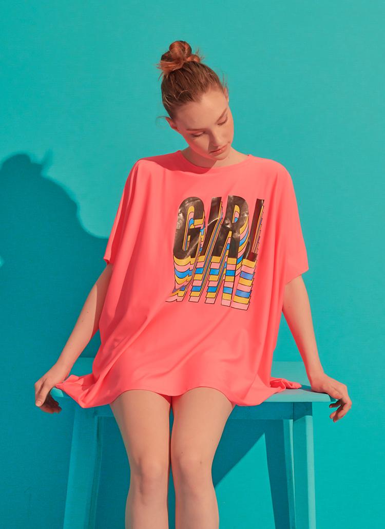 GIRLオーバーラッシュガードTシャツ(ピンク)