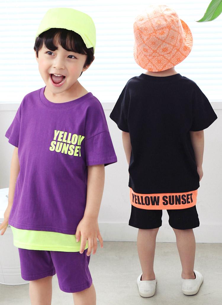 配色レタリングTシャツ&パンツSET