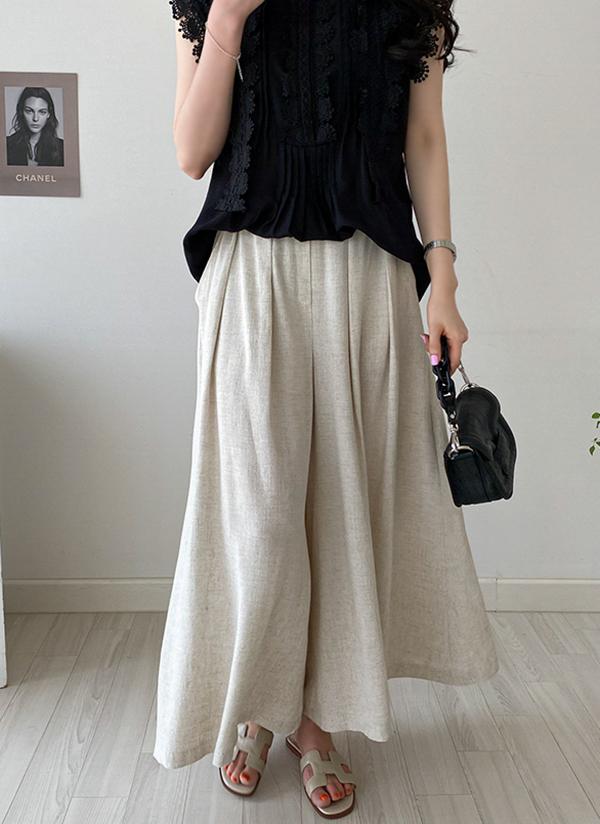 リネン混ワイドスカート風パンツ