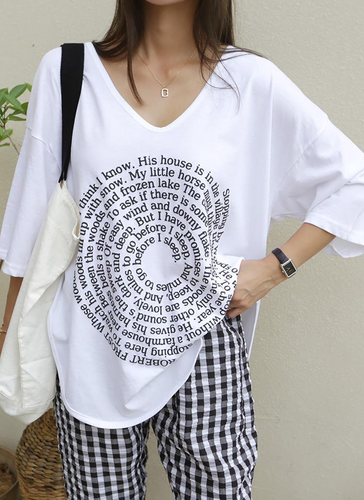 サークルレタリングVネックTシャツ