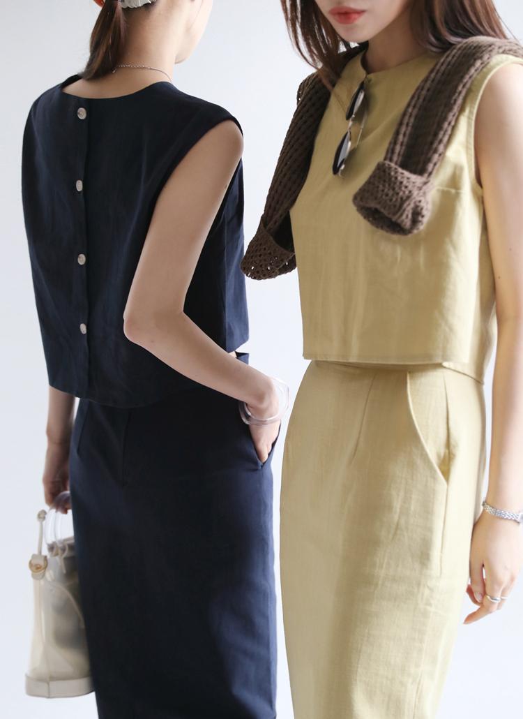 バックボタンスリーブレス&スカートSET・全3色