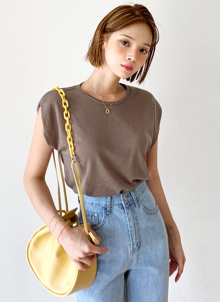 リネン混フレンチスリーブTシャツ・全4色