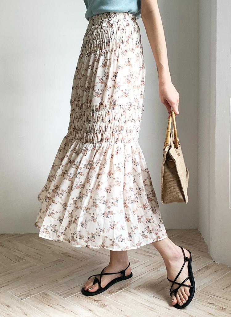 フローラルシャーリングスカート・全3色
