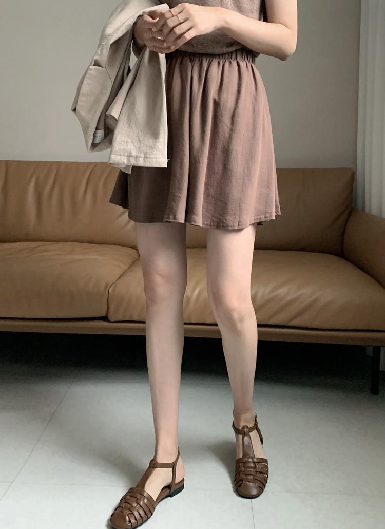 リネン混ウエストゴムスカートパンツ