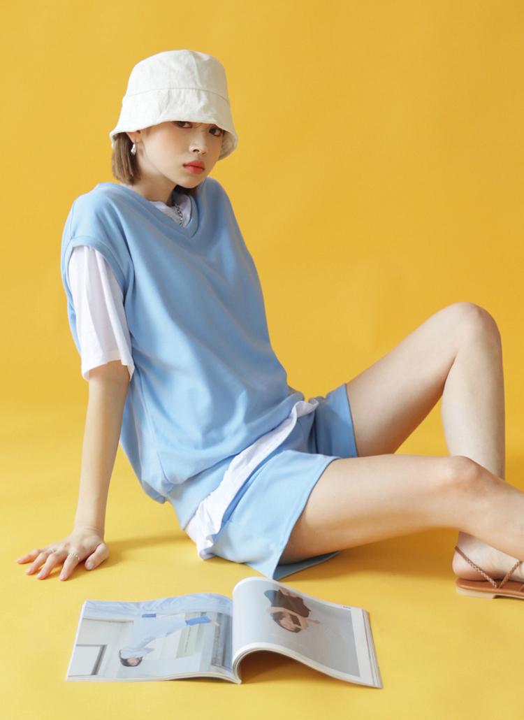 Tシャツ&ベスト&パンツ3SET・全4色