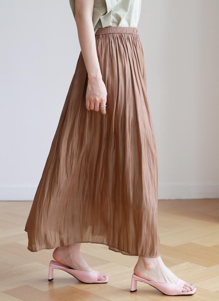 サテンギャザースカート・全4色