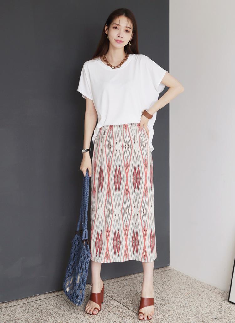 Tシャツ&パターンスカートSET・全3色